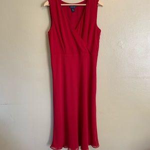 Ann Taylor | Red Chiffon Dress | 14